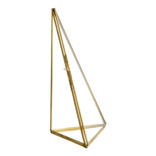 Brass and Glass Pyramid Display Case For Sale