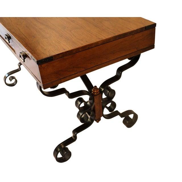 Vintage Fruitwood Iron Desk - Image 4 of 8