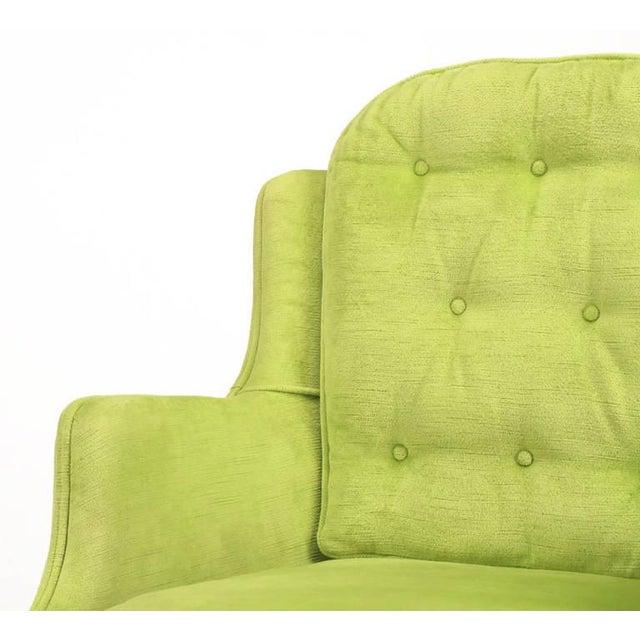 Pair of Chartreuse Yellow-Green Velvet Regency Lounge Chairs - Image 9 of 9