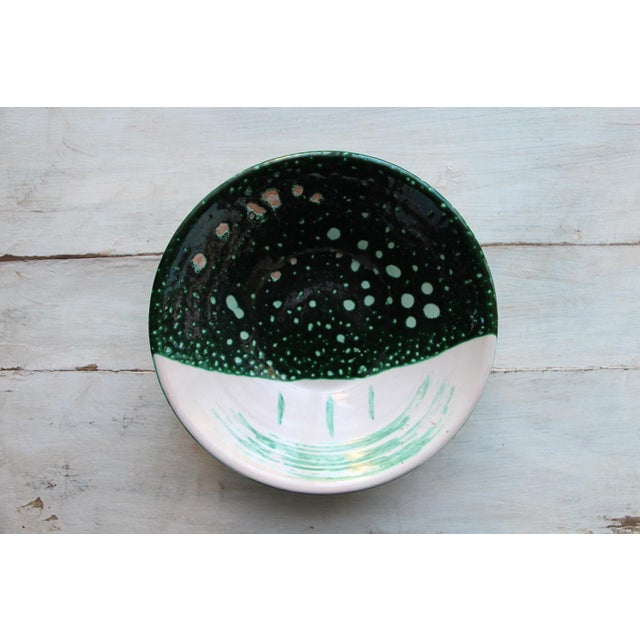 Vintage French Glazed Earthenware, Studio Pottery Low Bowl For Sale - Image 9 of 9