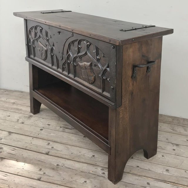 Gothic Antique French Gothic Low Buffet - Console - Sofa Table For Sale - Image 3 of 13