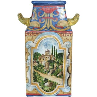 Hand Painted Faience Square Vase with Handles For Sale