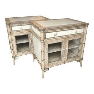 Baker Faux Bamboo Fretwork Nightstands-A Pair For Sale