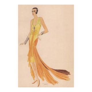 Original Art Deco Fashion Drawing For Sale