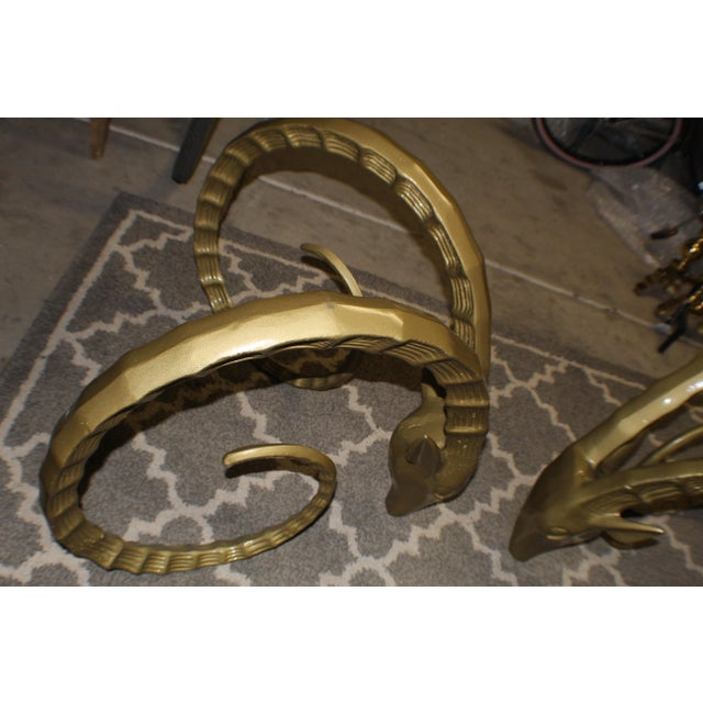 Gold 20th Century Hollywood Regency Forged Metal Ibex Table Base - 2 Pieces For Sale - Image 8 of 10