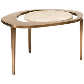 Peacock Nesting Coffee Table in Cream Shagreen and Brass by R&y Augousti For Sale