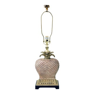 Taupe, Gold, and Black Pineapple Table Lamp For Sale