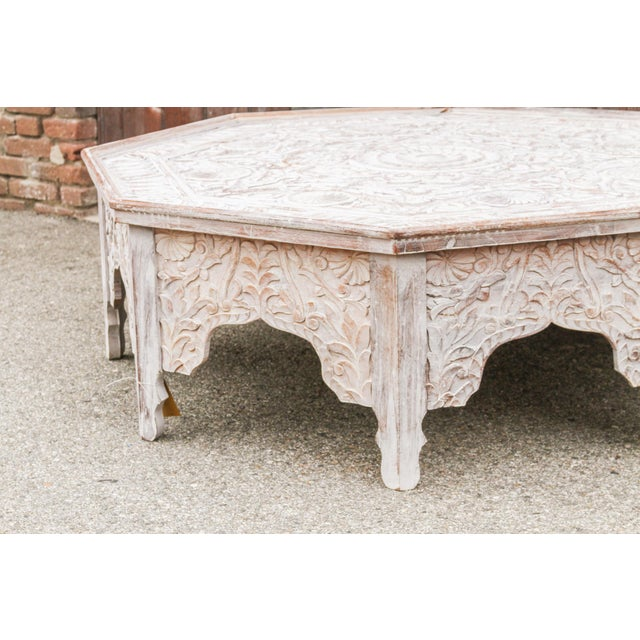 2010s Grand White-Washed Moorish Carved Octagonal Coffee Table For Sale - Image 5 of 9