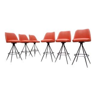 Mid Century Modern Atomic Orange Swivel Bar Stools Set- Buy 1 or 6 For Sale