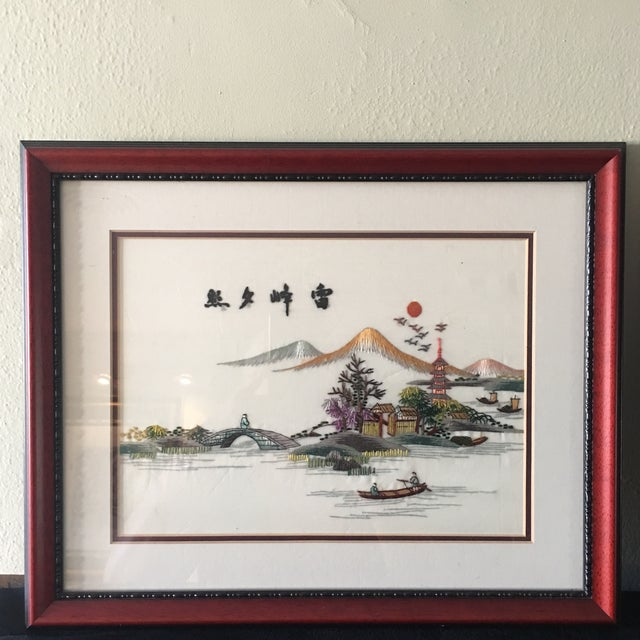 Vintage Chinese Hand Embroidered Wall Art - A Pair - Image 3 of 8