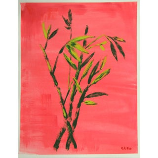 Botanical Tropical Bamboo Painting by Cleo Plowden For Sale