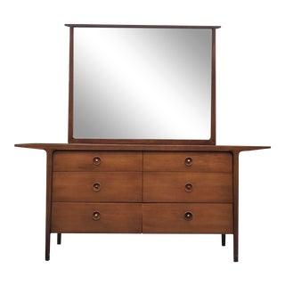 1956 Mid Century Modern John Van Koert Drexel Counterpoint Dresser & Mirror For Sale