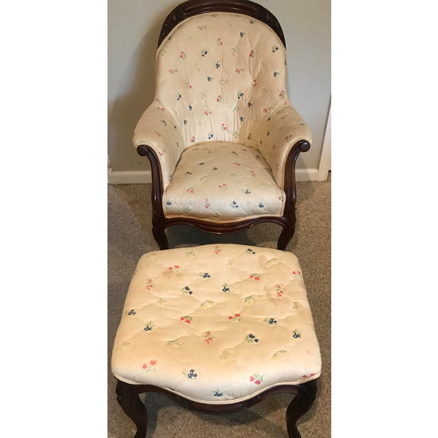 Victorian Slipper Chair and Ottoman For Sale - Image 4 of 13