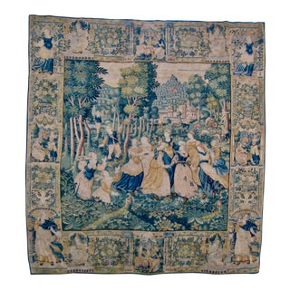Large 16th Century Flemish Rare Tapestry Wall Hanging For Sale