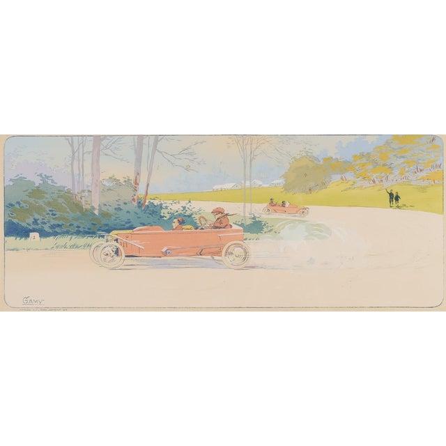 """1913 Original French Art Deco """"Dedalia Car Race"""" Poster - Image 3 of 8"""