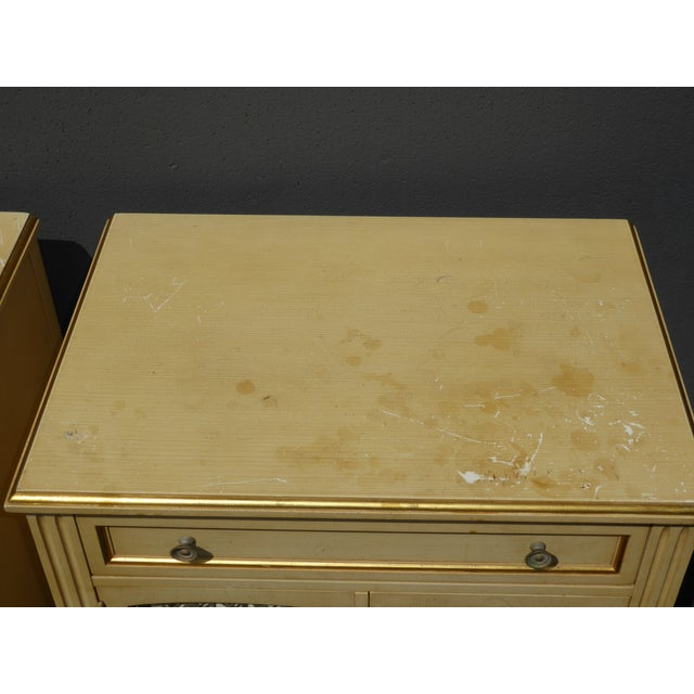 Vintage Kindel French Country Cottage Cream Nightstands - A Pair - Image 10 of 11