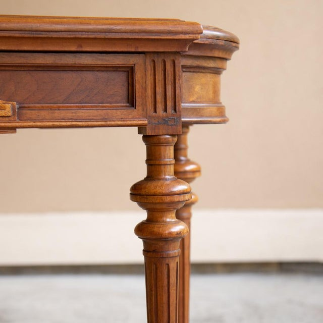 19th Century French Henri II Walnut Game Table ~ Console For Sale - Image 4 of 13