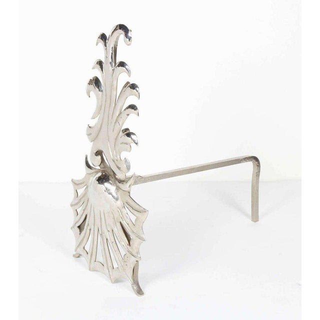 Art Deco 1980's Vintage Hollywood Regency Fireplace Andirons - a Pair For Sale - Image 3 of 8