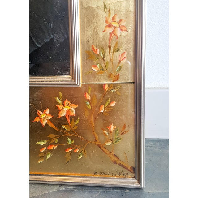 Large Labarge Églomisé Signed Chinoiserie Mirror - Image 4 of 6
