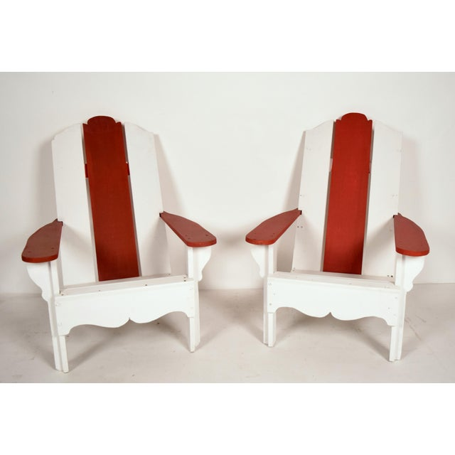 1970's White & Red Wood Pool Lounge Chairs - Pair - Image 2 of 8