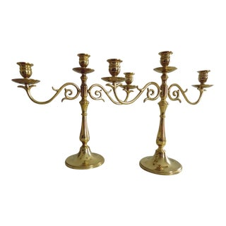 Vintage Brass 3 Candle Candelabras by Valsan - a Pair For Sale