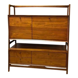 West Elm Teak Hutch For Sale
