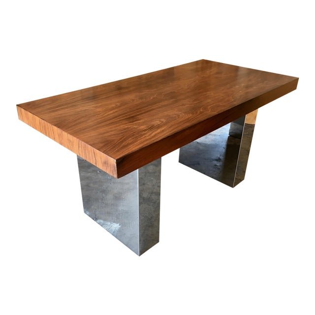 Milo Baughman Style Rosewood And Chrome Desk Chairish