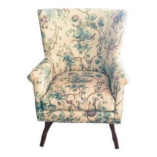 Bunny Williams Home Wainscott Chair in a Michael Smith Printed Linen Fabric For Sale