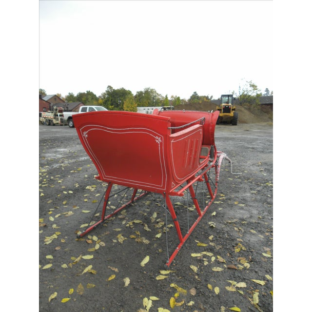 Interior Design Antique Holiday Sleigh Red Sled - Image 5 of 10