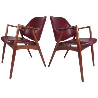 Pair of Mid-Century Barrel Back Teak Armchairs in the Style of Erik Kirkegaard For Sale