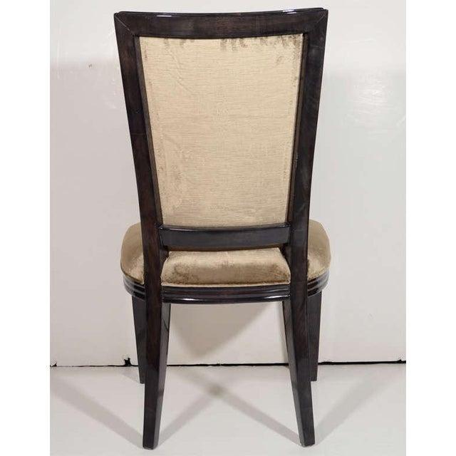 1940s Pair of Elegant Hollywood Regency High Back Chairs in Velvet For Sale - Image 5 of 7