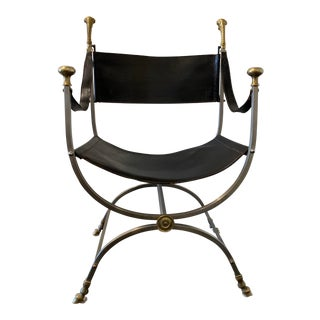 1960s Maison Jansen Savonarola Steel and Brass Leather Campaign Chair For Sale
