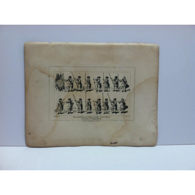 "1840s Antique John Hogarth ""Blackwell's Military Figures - Pikemen"" Original Engraving Print For Sale - Image 4 of 4"