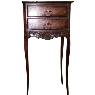 Antique French Regence Style Walnut Table With Two Drawers For Sale