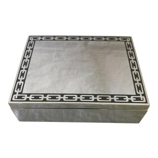 Reed & Barton Silver & Black Enamel Trinket Box For Sale