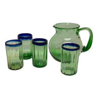 Handmade Tropical Green Glass & Pitcher Set of 5 For Sale