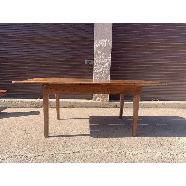 Metal 1960s Rustic Custom Built Barnwood PlankTop Dining Table For Sale - Image 7 of 13