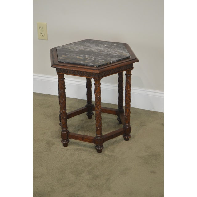 *STORE ITEM #: 19071 Antique Italian Carved Walnut Hexagon Marble Top Taboret Side Table AGE / ORIGIN: Approx. 100 years,...
