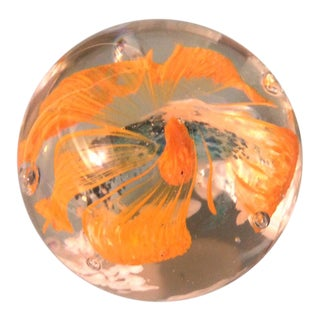 Vintage Mid-Century Hand Blown Glass Floral Paperweight For Sale