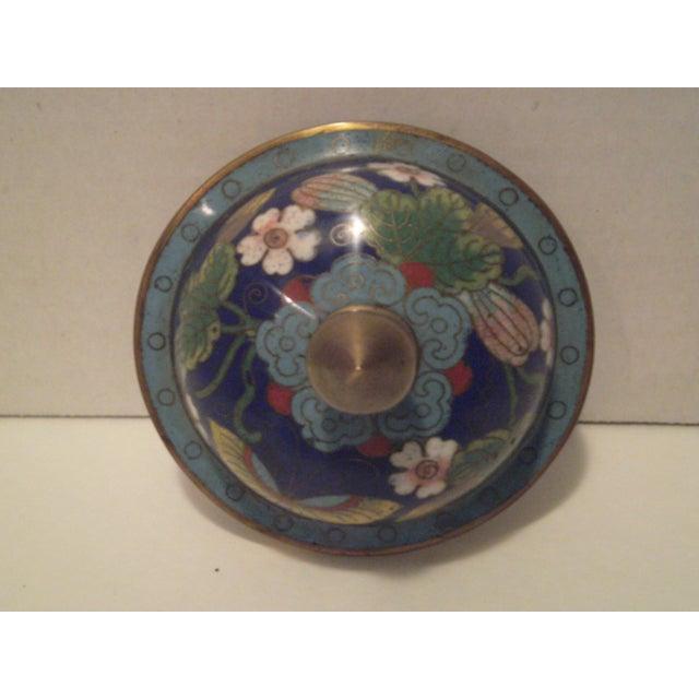 Cobalt Blue Cloisonne Covered Ginger Jar - Image 6 of 11