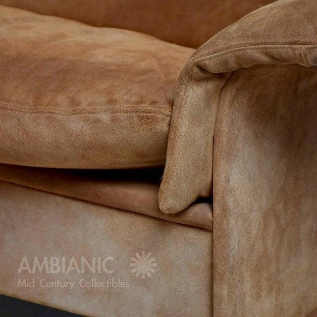 Fabric Danish Modern Suede & Teak Sofa For Sale - Image 7 of 8
