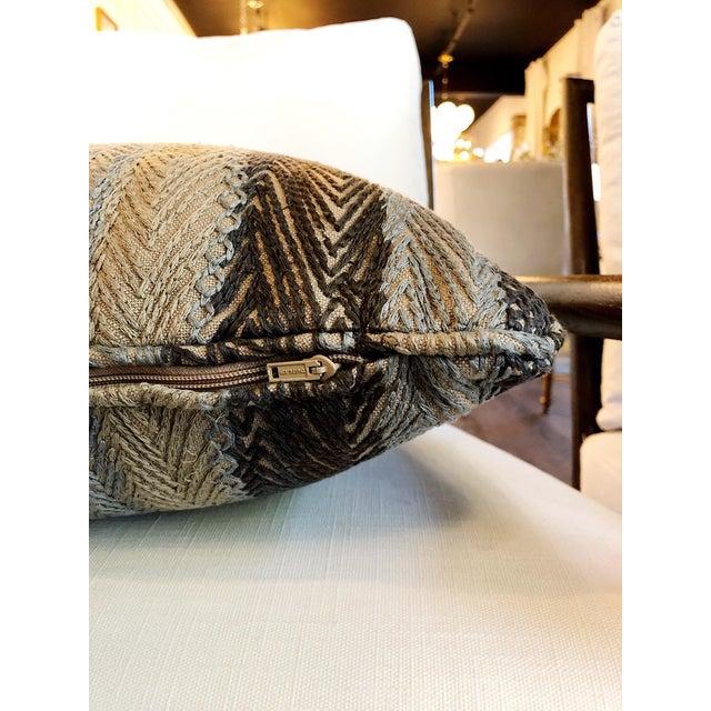 Robert Allen Robert Allen Zigzag Graphite Pillow Cover For Sale - Image 4 of 8