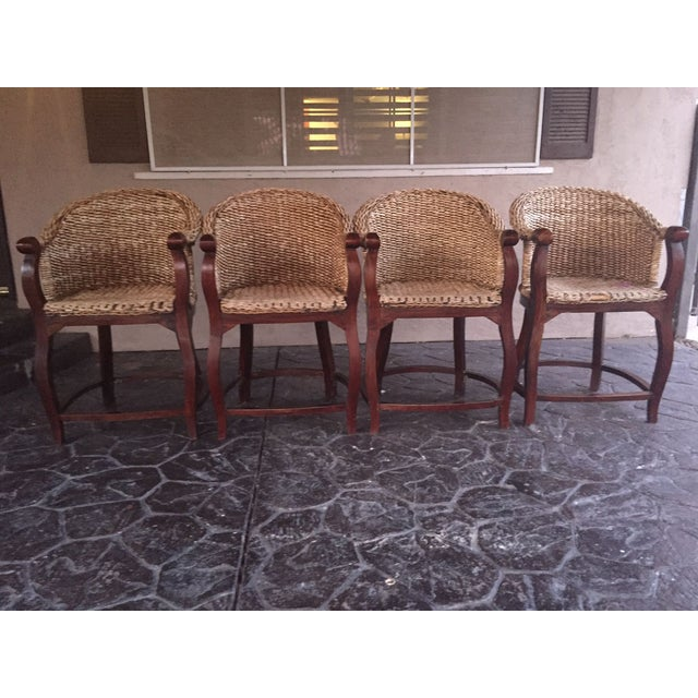 Vintage Banana Wicker Counter Stools - Set of 4 - Image 2 of 6