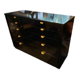 Edward Wormley Drexel Black Lacquer Lowboy For Sale