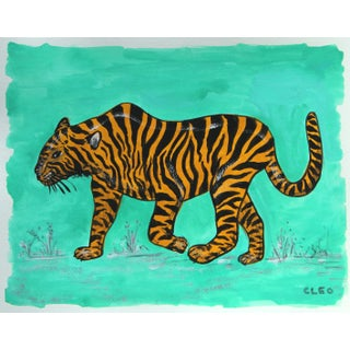 Chinoiserie Tiger Painting by Cleo Plowden For Sale