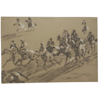 Mid-Century Charcoal Sketch of Men on Horses by Mystery Artist C.1959 For Sale