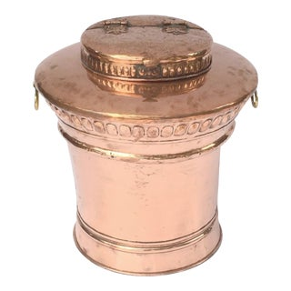 Large English Copper Urn or Bin with Hinged Lid For Sale