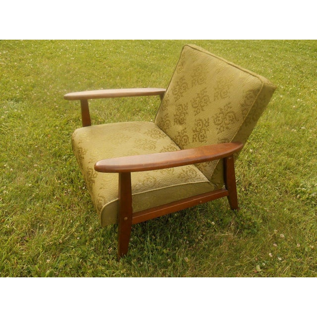 Danish Modern Olive Green Lounge Chair - Image 4 of 6