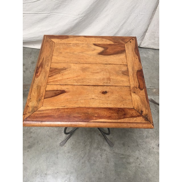 Rustic French Bistro Walnut SideTables With Iron Bases - a Pair For Sale In Austin - Image 6 of 12