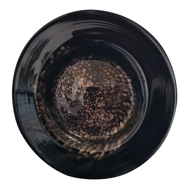 Black & Gold Murano Art Glass Plate For Sale
